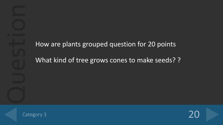 How are plants grouped question for 20 points