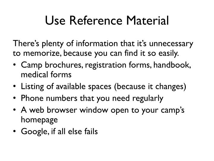Use Reference Material
