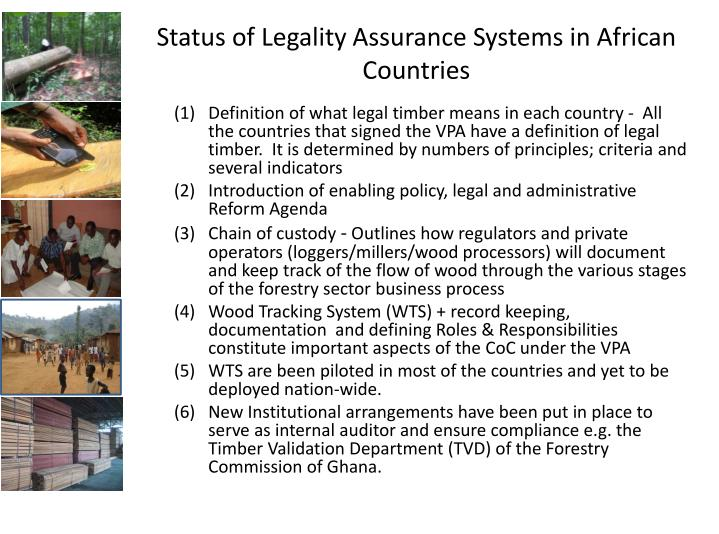Status of Legality Assurance Systems in African Countries