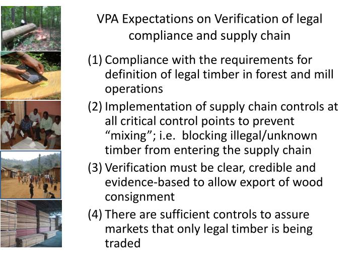 VPA Expectations on Verification of legal compliance and supply chain