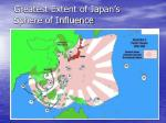 greatest extent of japan s sphere of influence
