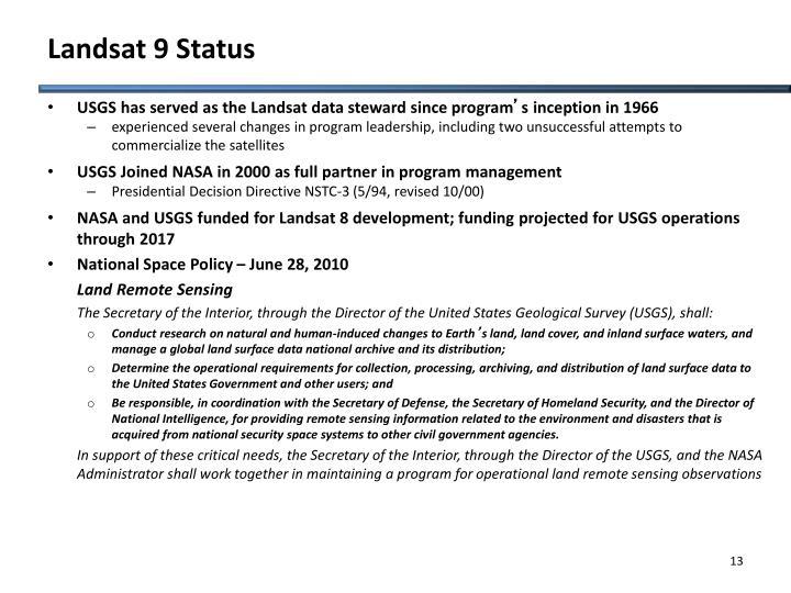 Landsat 9 Status
