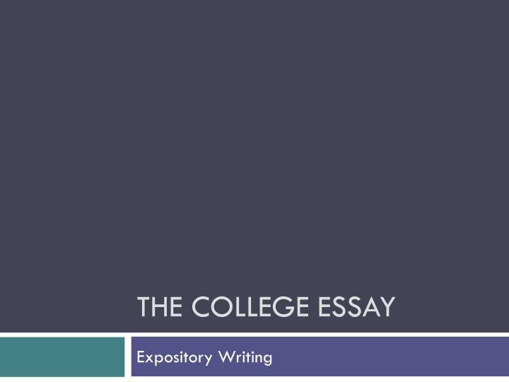 the college essay n.