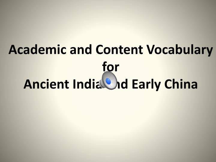 Academic and Content Vocabulary for