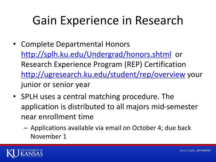 Gain Experience in Research