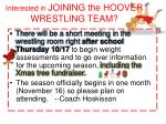 interested in joining the hoover wrestling team