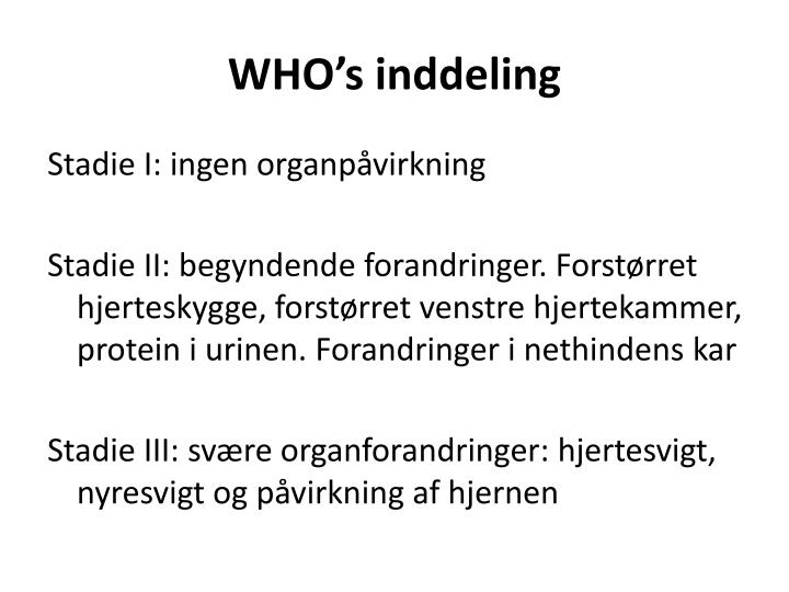 WHO's inddeling