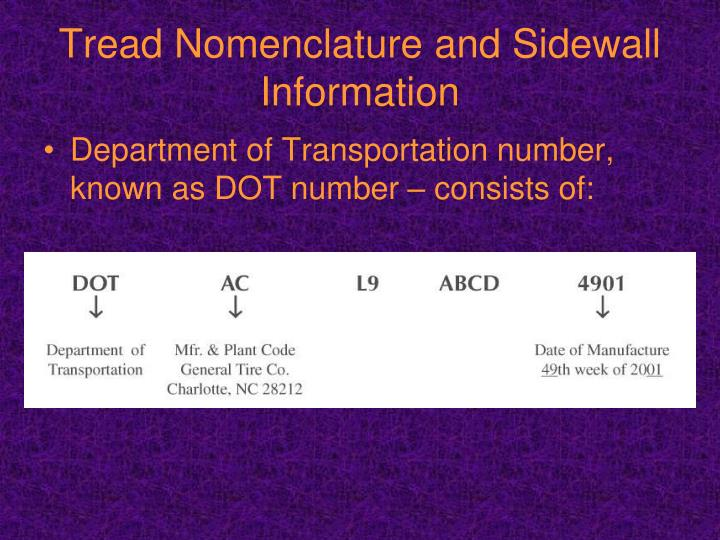 Tread Nomenclature and Sidewall Information