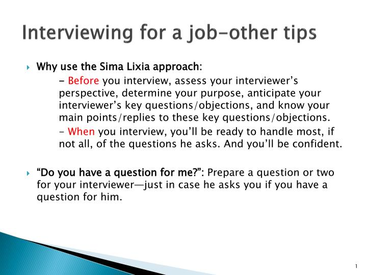 interviewing for a job other tips n.