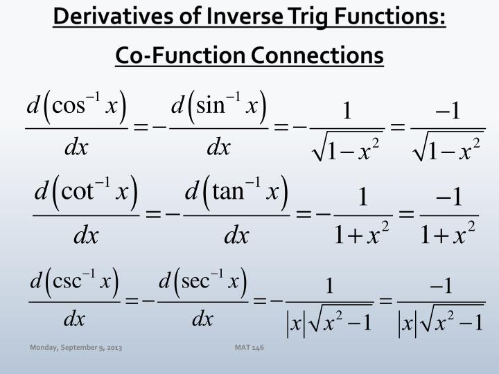 Derivatives of Inverse Trig Functions: