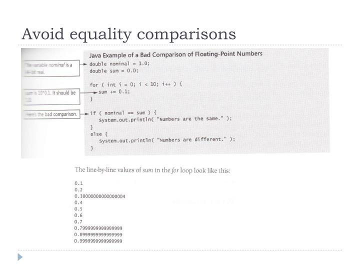 Avoid equality comparisons