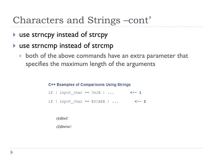 Characters and Strings –cont'