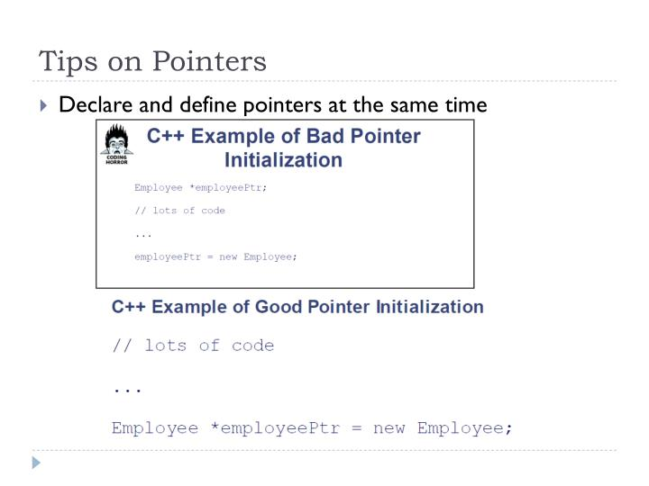 Tips on Pointers