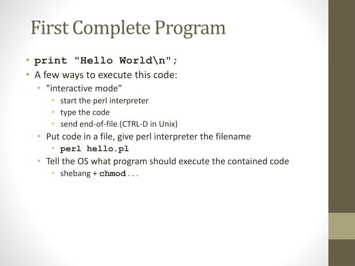 First Complete Program