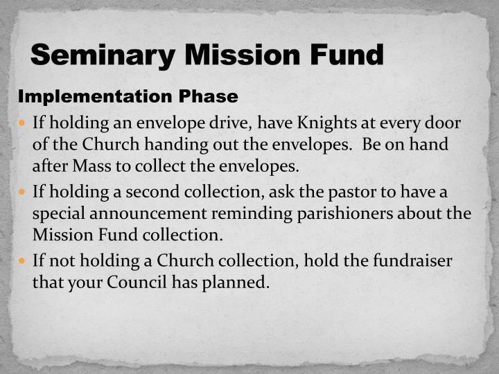 Seminary mission fund1