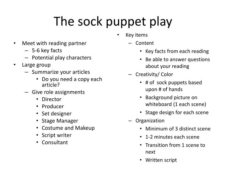 The sock puppet play