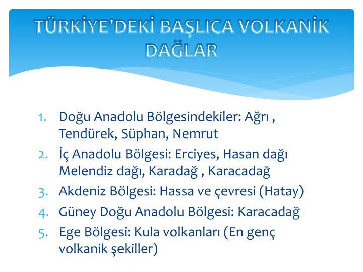 TÜRKİYE'DEKİ BAŞLICA VOLKANİK
