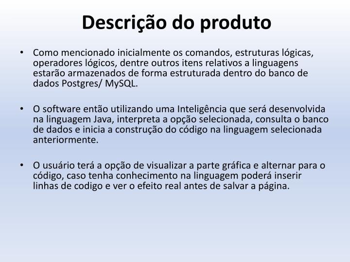 Descrição do produto