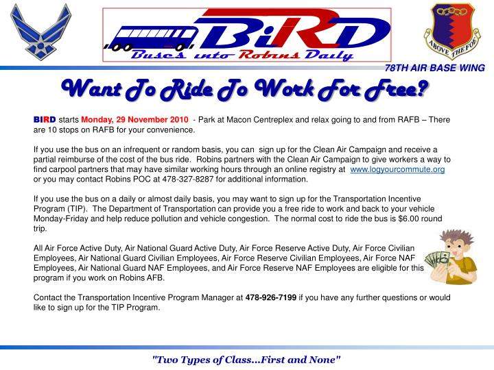 Want To Ride To Work For Free?