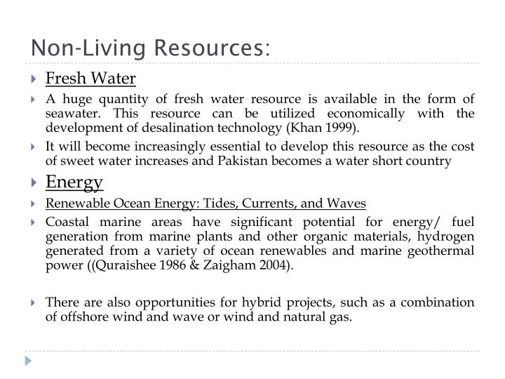 Non-Living Resources: