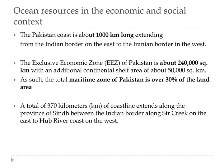Ocean resources in the economic and social context