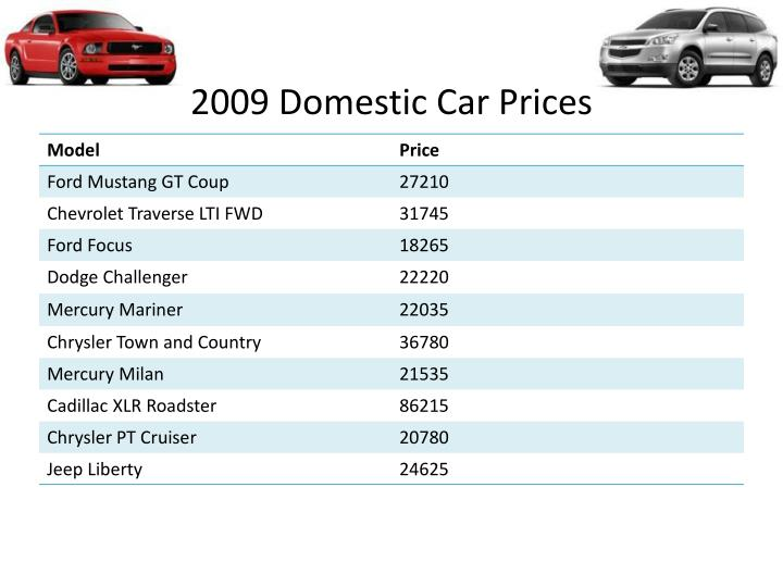 2009 Domestic Car Prices Foreign