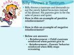 billy throws a tantrum