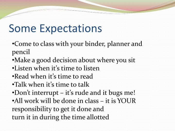 Some expectations