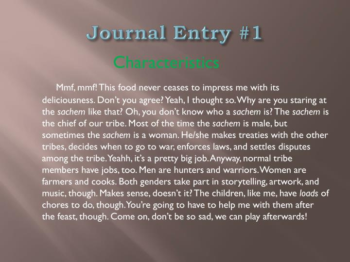 Journal Entry #1