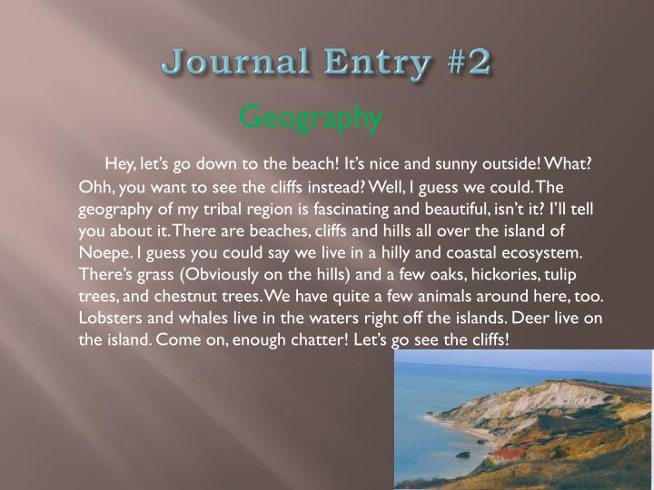Journal Entry #2