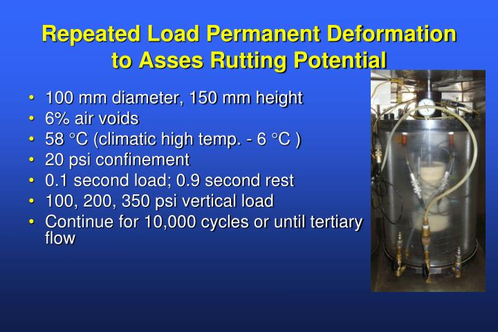 Repeated Load Permanent Deformation to Asses Rutting Potential