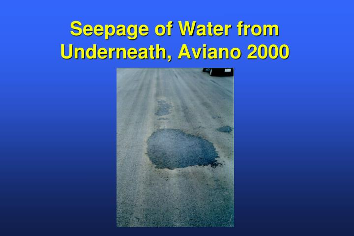 Seepage of Water from