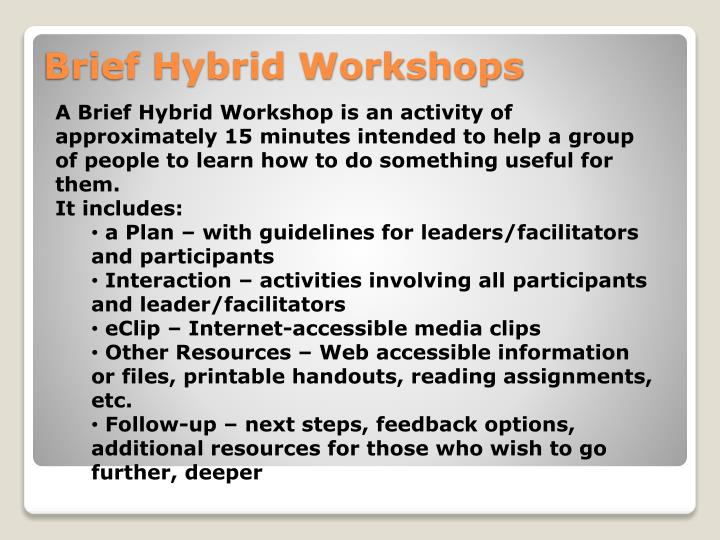 A Brief Hybrid Workshop is an activity of approximately 15 minutes intended to help a group of people to learn how to do something useful for them.