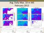 avg daily max 10 m ws february 2012