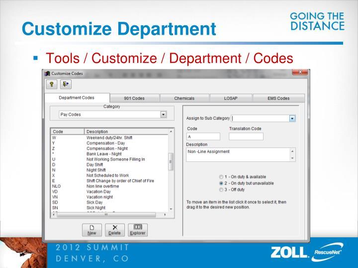Customize Department