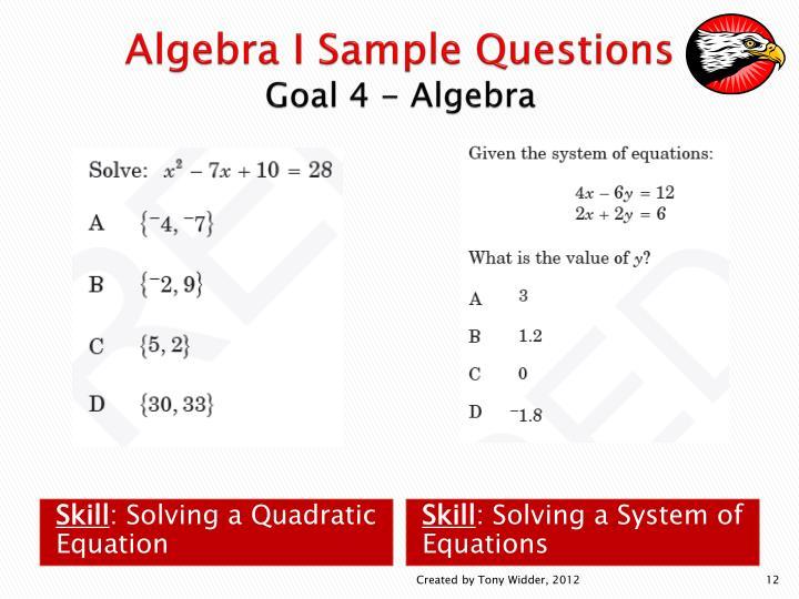 Algebra I Sample Questions