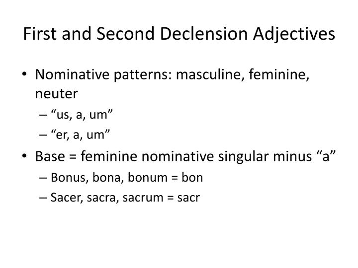 First and Second Declension Adjectives