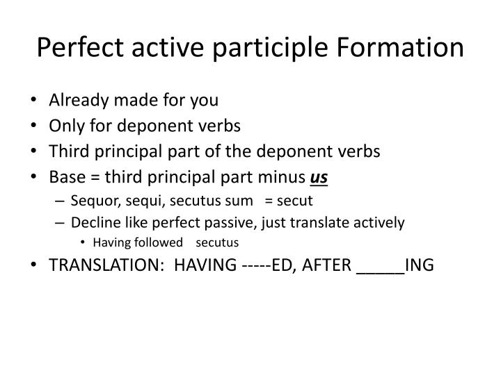 Perfect active participle Formation