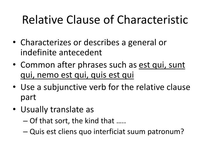 Relative Clause of Characteristic