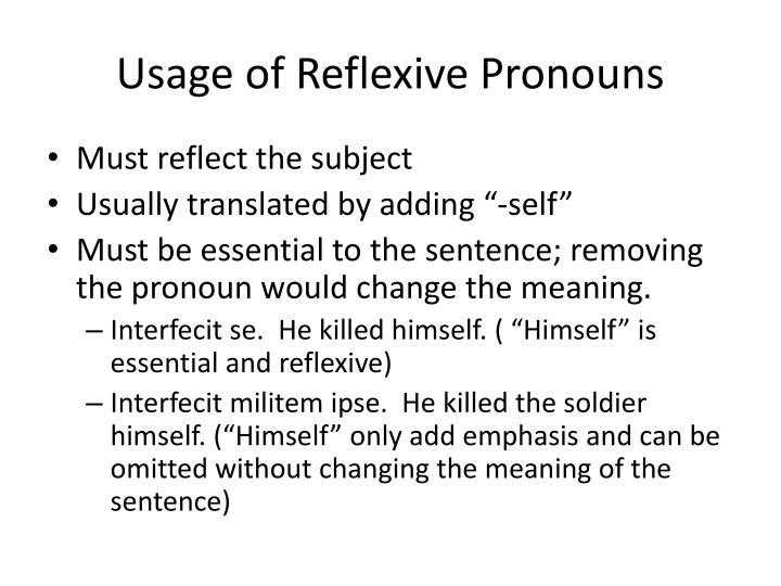 Usage of Reflexive Pronouns
