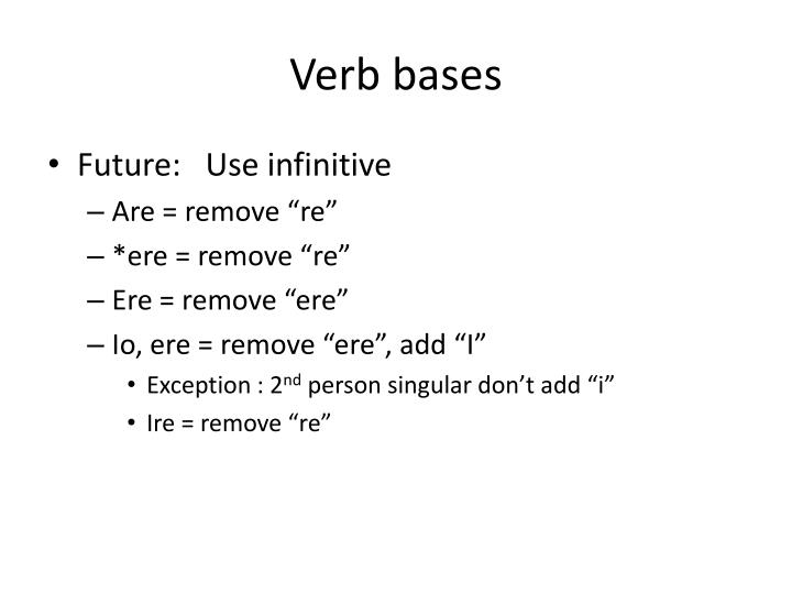 Verb bases