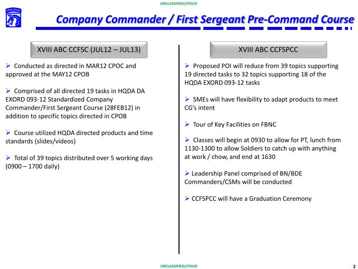 Company commander first sergeant pre command course