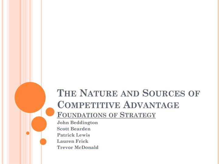 the nature and sources of competitive advantage foundations of strategy