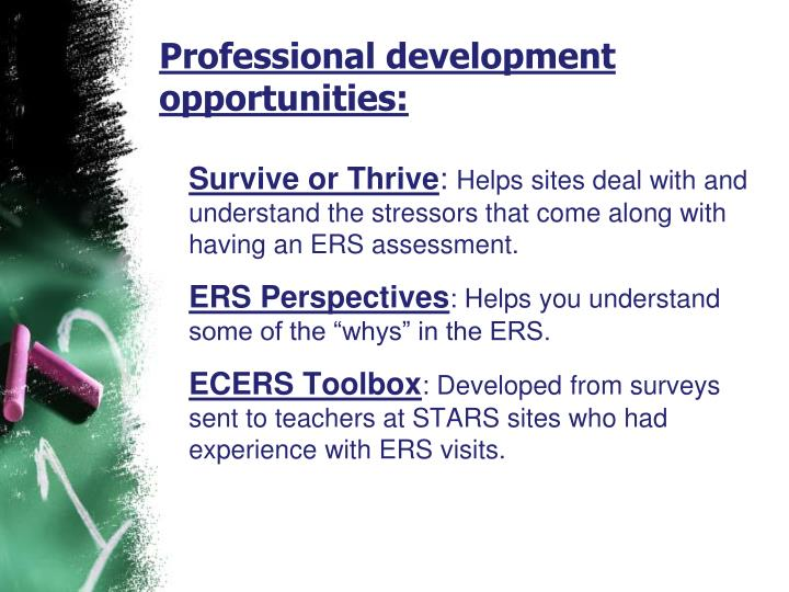 Professional development opportunities: