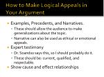 how to make logical appeals in your argument