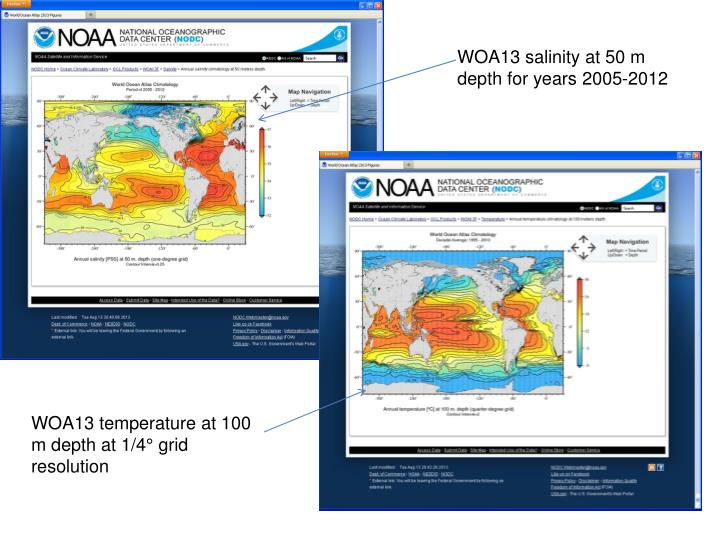 WOA13 salinity at 50 m depth for years 2005-2012