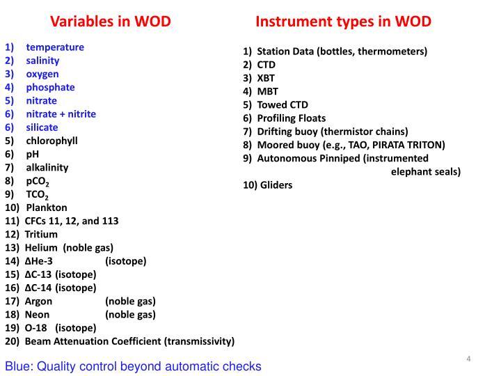 Instrument types in WOD