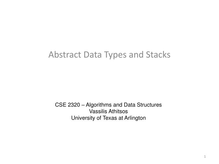 abstract data types and stacks n.