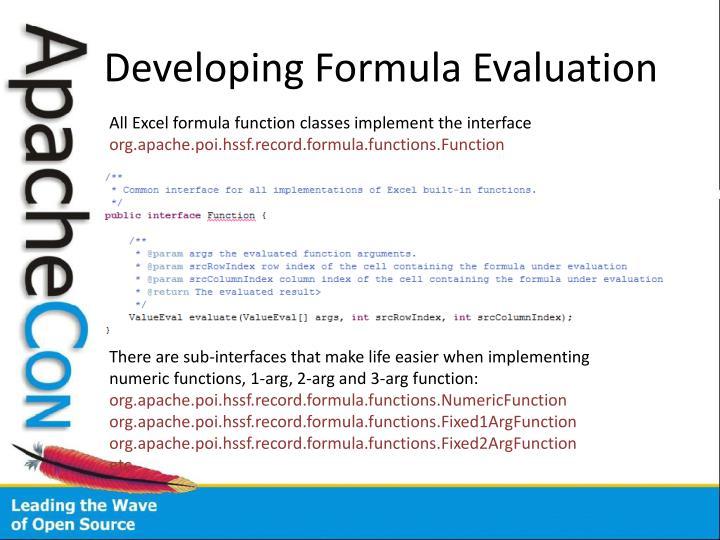 Developing Formula Evaluation