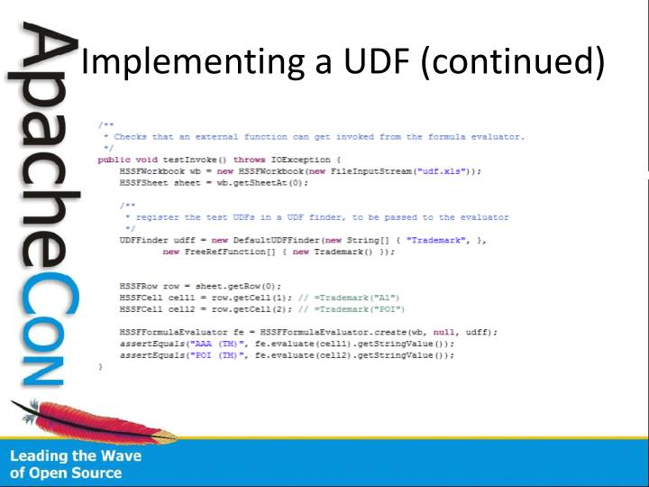 Implementing a UDF (continued)